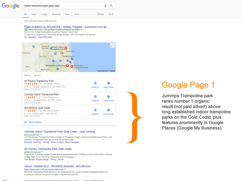 page one google ranking