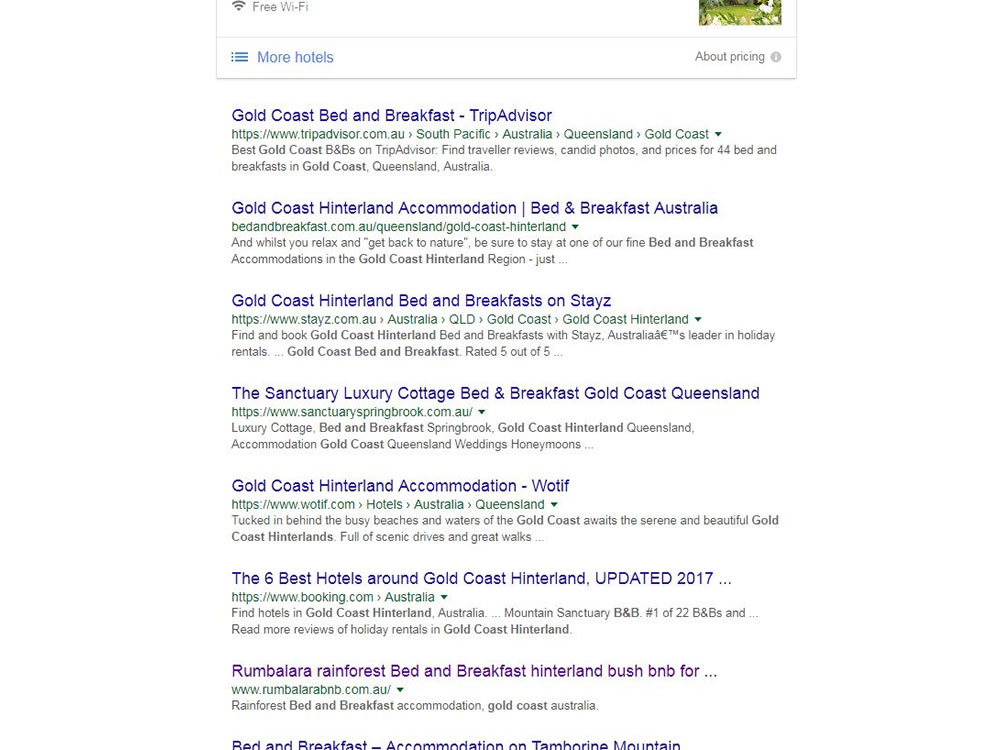 gold coast accommodation seo ranking